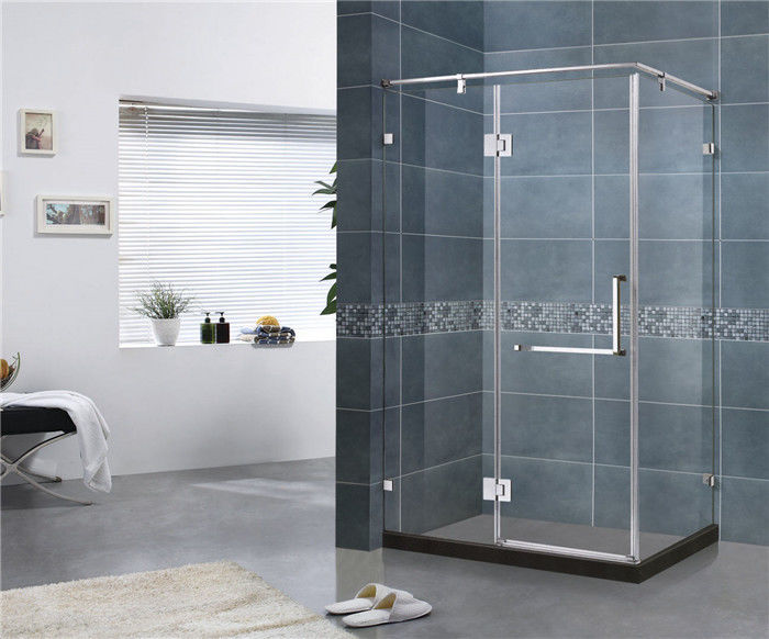 180 Degree Stainless Hinge Shower Enclosures  Rectangle With Support Bar 8 MM Tempered Glass