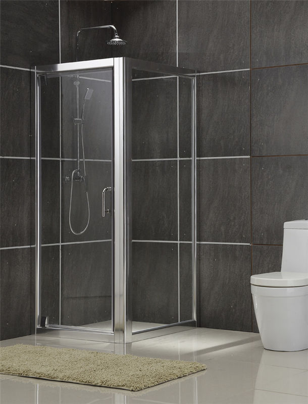 Aluminum Alloy Square Shower Enclosures Swing Pivot Doors Tempered Glass for Home / Hotel