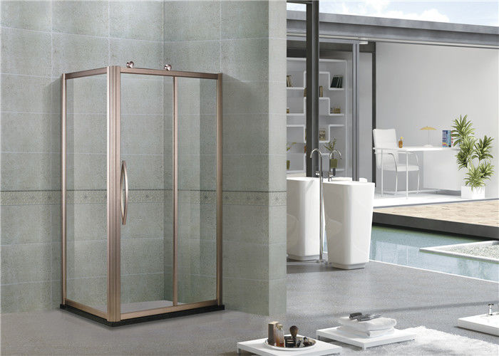 Rose Gold Aluminum Alloy Shower Cabins Rectangler With Outside Wheels Sliding Tempered Glass