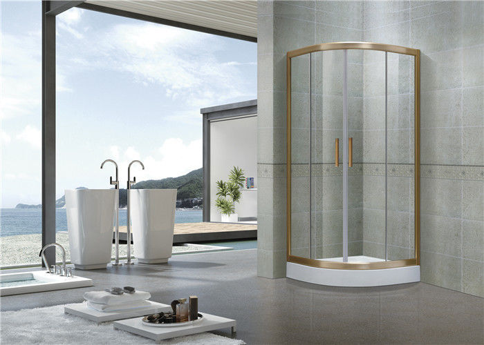 Sector Gold oxidated Shower Enclosures Full Aluminum Alloy CE Certification Glass