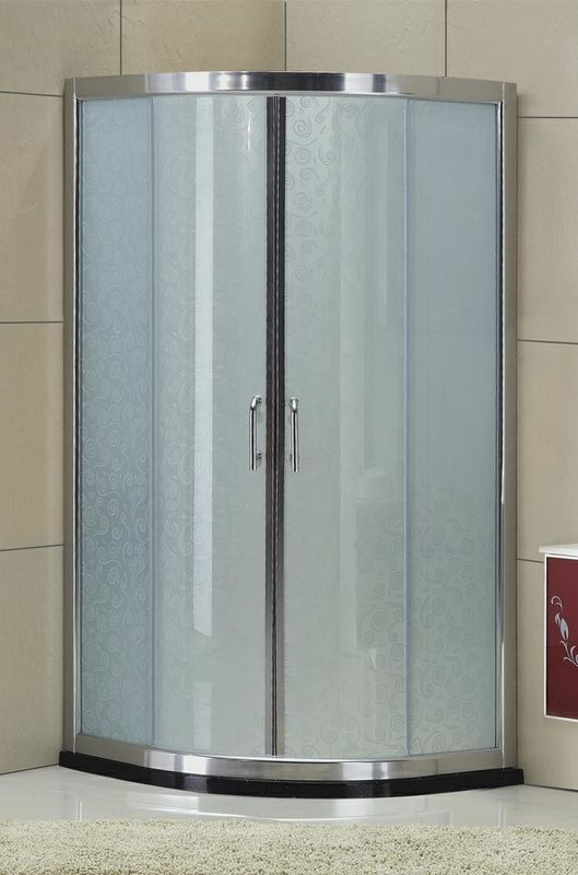 Wired Glass D Shaped Shower Enclosure Sliding Frosted Full Shower Enclosure